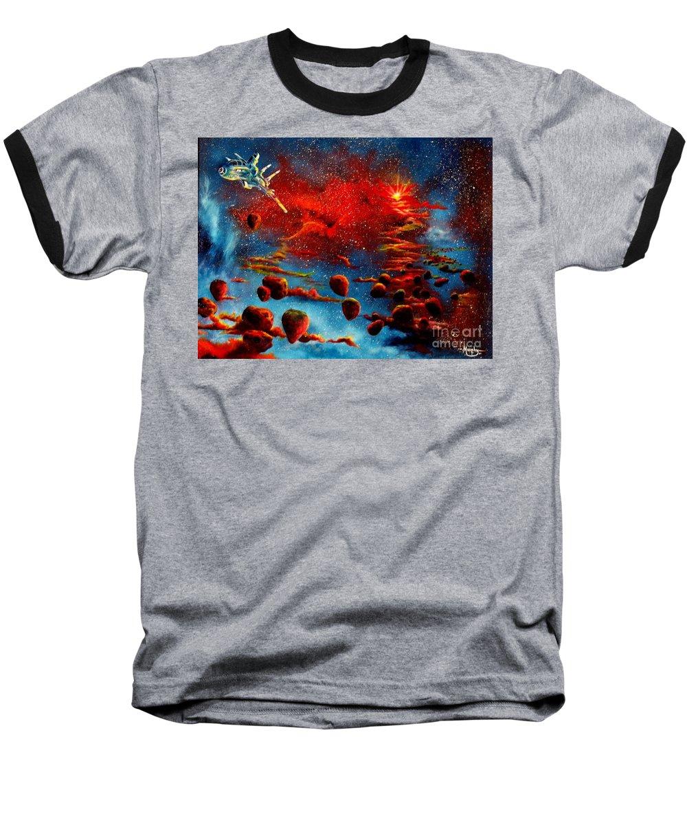 Nova Baseball T-Shirt featuring the painting Starberry Nova Alien Excape by Murphy Elliott