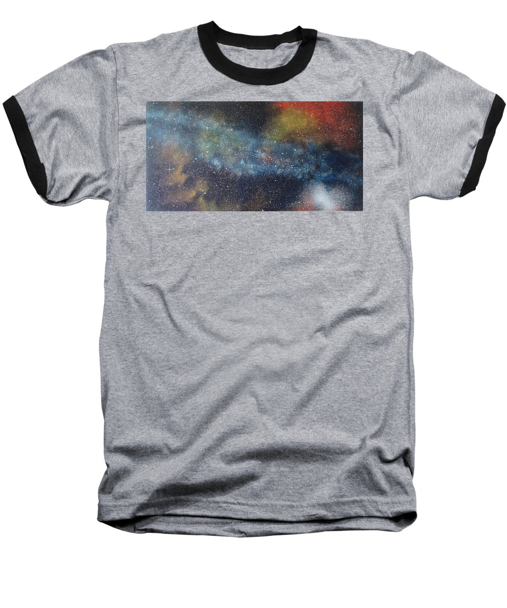 Space;stars;starry;nebula;spiral;galaxy;star Cluster;celestial;cosmos;universe;orgasm Baseball T-Shirt featuring the painting Stargasm by Sean Connolly
