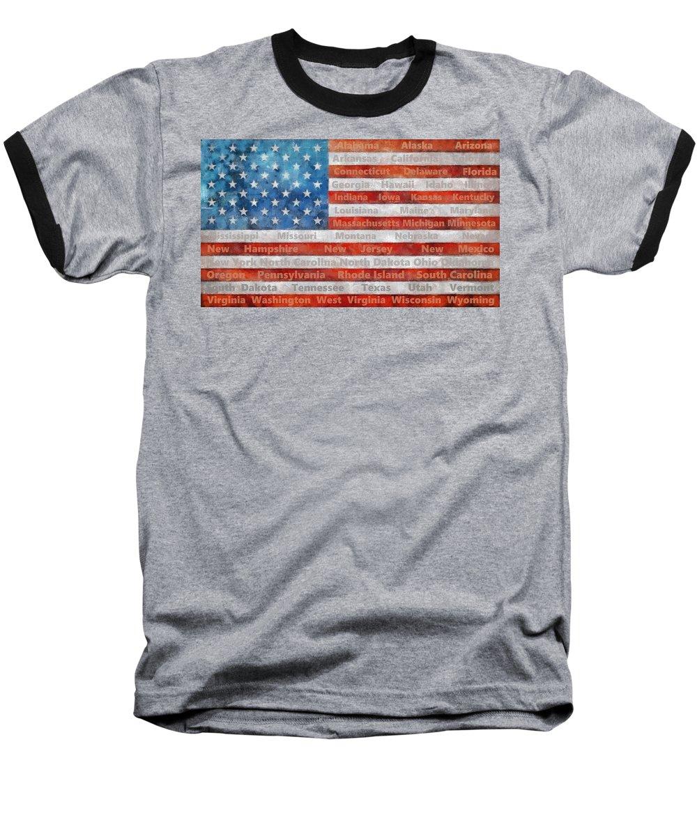 Flag Baseball T-Shirt featuring the digital art Stars and Stripes with States by Michelle Calkins