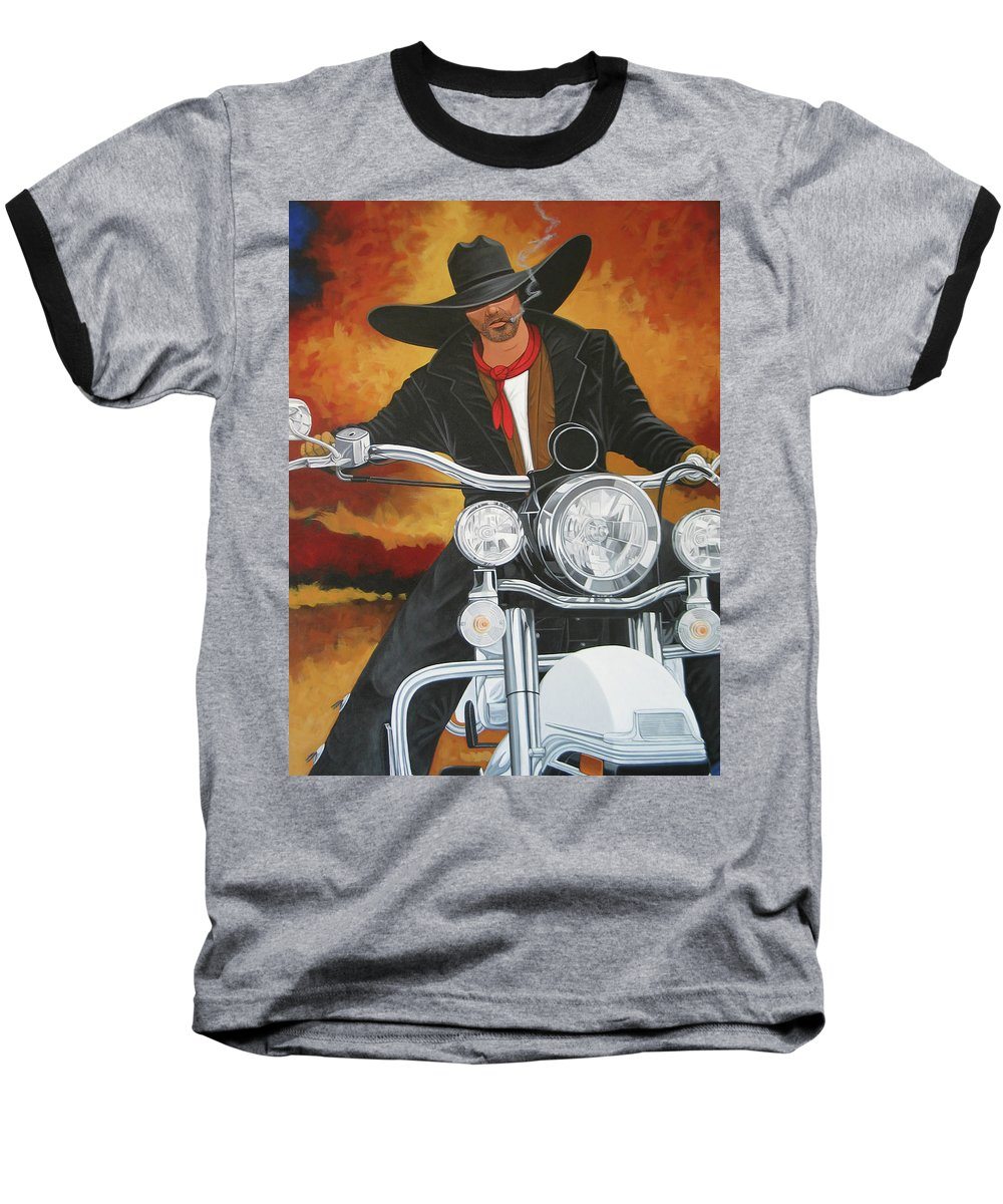 Cowboy On Motorcycle Baseball T-Shirt featuring the painting Steel Pony by Lance Headlee