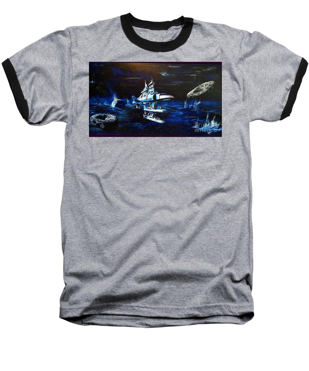 Alien Baseball T-Shirt featuring the painting Stellar Cruiser by Murphy Elliott