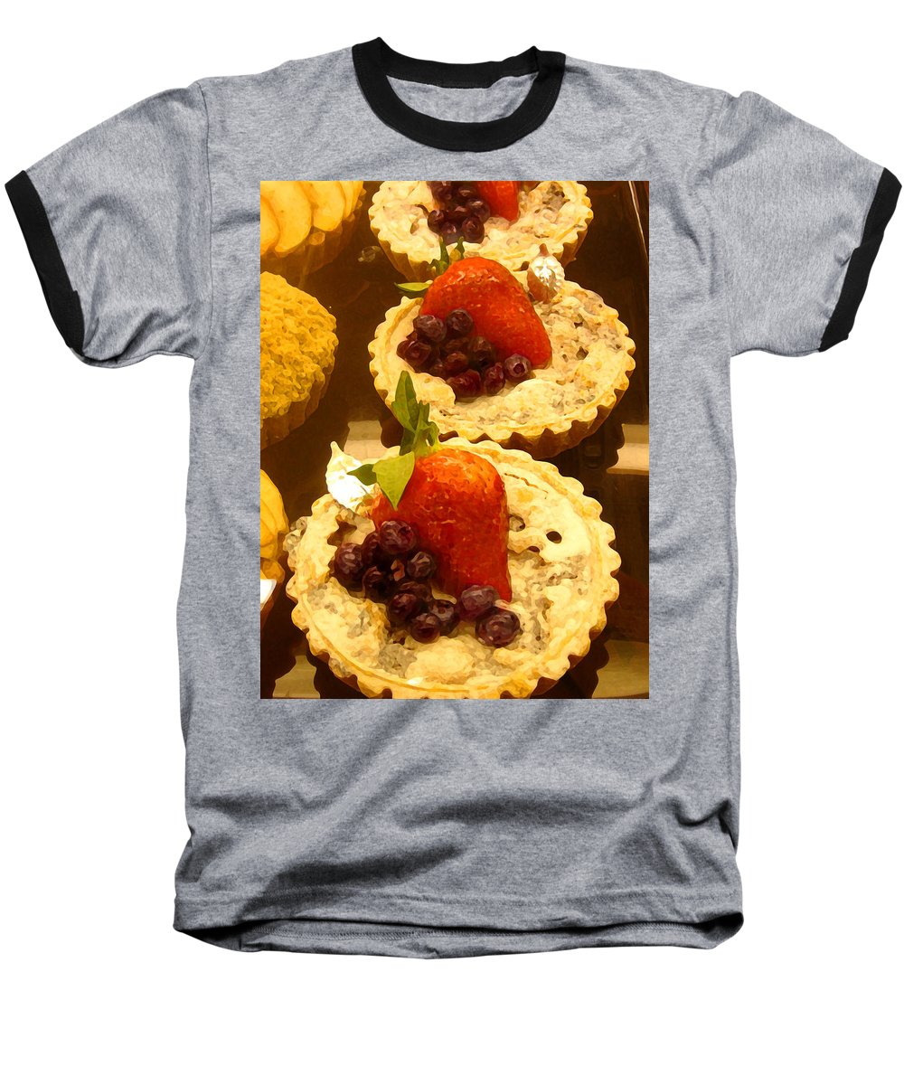 Food Baseball T-Shirt featuring the painting Strawberry Blueberry Tarts by Amy Vangsgard