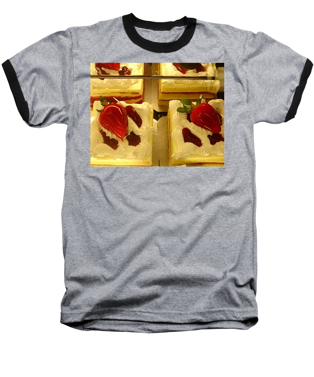 Kitchen Baseball T-Shirt featuring the painting Strawberry Cakes by Amy Vangsgard