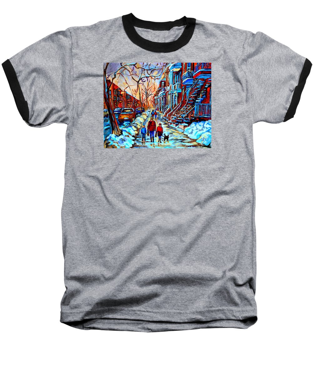 Montreal Baseball T-Shirt featuring the painting Streets Of Montreal by Carole Spandau