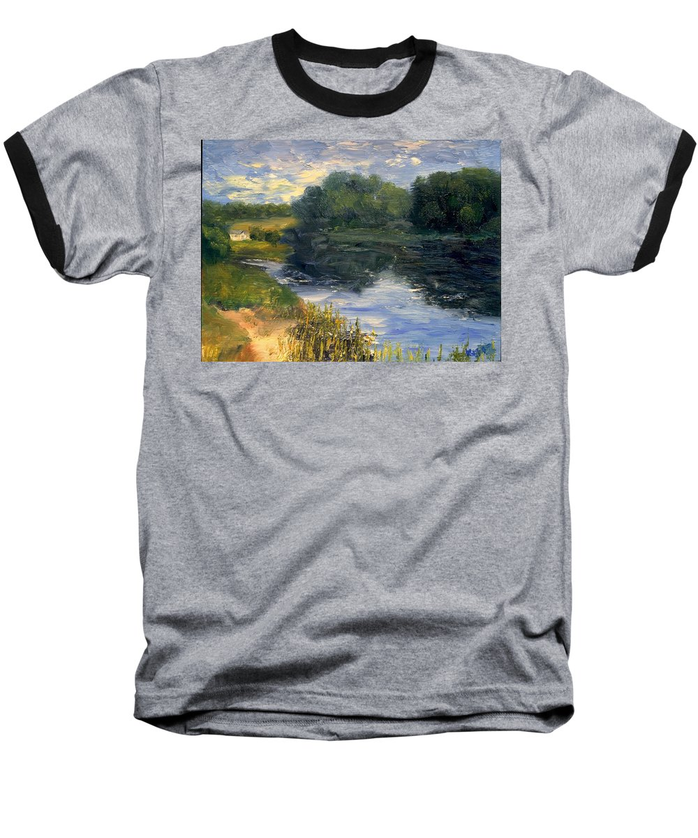 Landscape Baseball T-Shirt featuring the painting Summer At Jackson Lake by Gail Kirtz