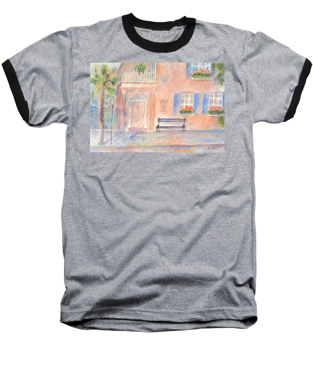 Charleston; Low Country; Palmetto Tree Baseball T-Shirt featuring the painting Sunday Morning In Charleston by Ben Kiger