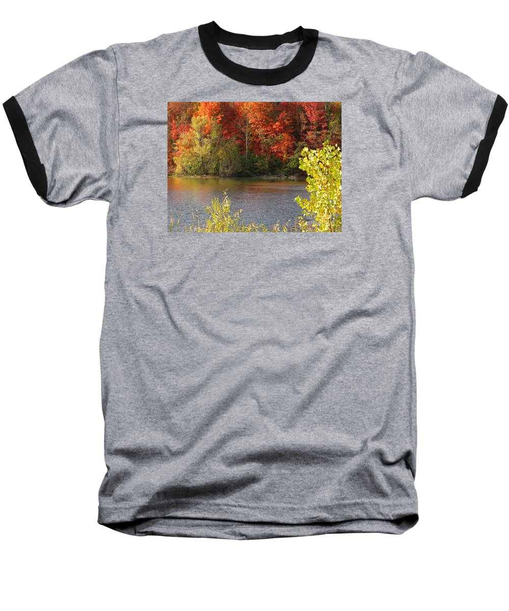 Autumn Baseball T-Shirt featuring the photograph Sunlit Autumn by Ann Horn