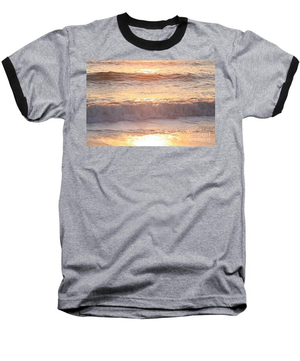 Waves Baseball T-Shirt featuring the photograph Sunrise Waves by Nadine Rippelmeyer
