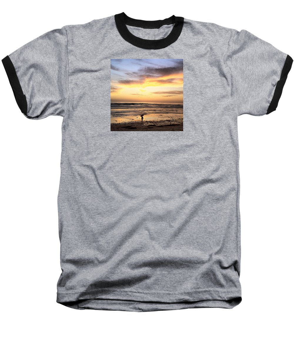 Sunset Surfer Print Framed Prints Baseball T-Shirt featuring the photograph Sunset Surfer by Paul Carter