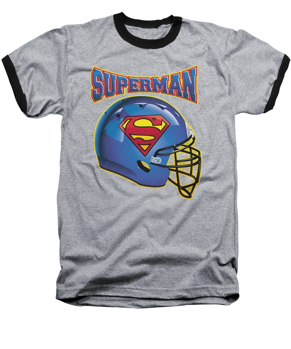Superman Baseball T-Shirt featuring the digital art Superman - Helmet by Brand A