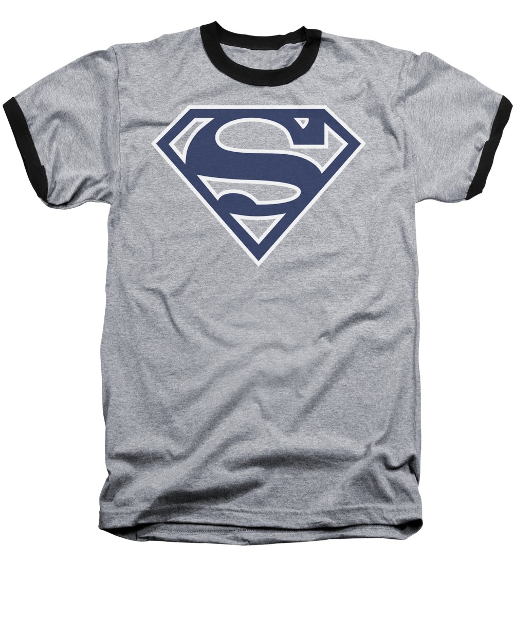 Superman Baseball T-Shirt featuring the digital art Superman - Navy And White Shield by Brand A