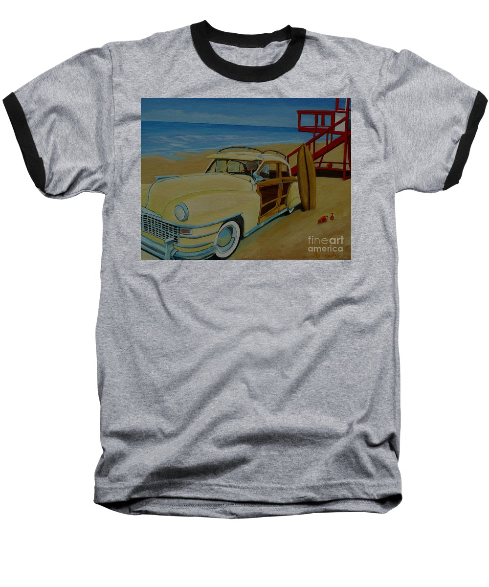 Woody Baseball T-Shirt featuring the painting Surfers Woody by Anthony Dunphy