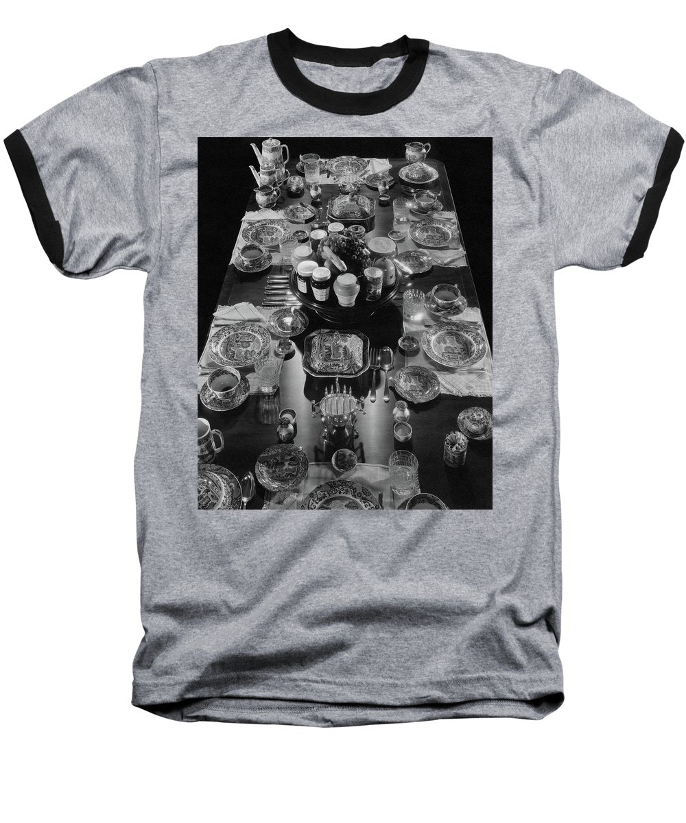 Interior Baseball T-Shirt featuring the photograph Table Settings On Dining Table by The 3