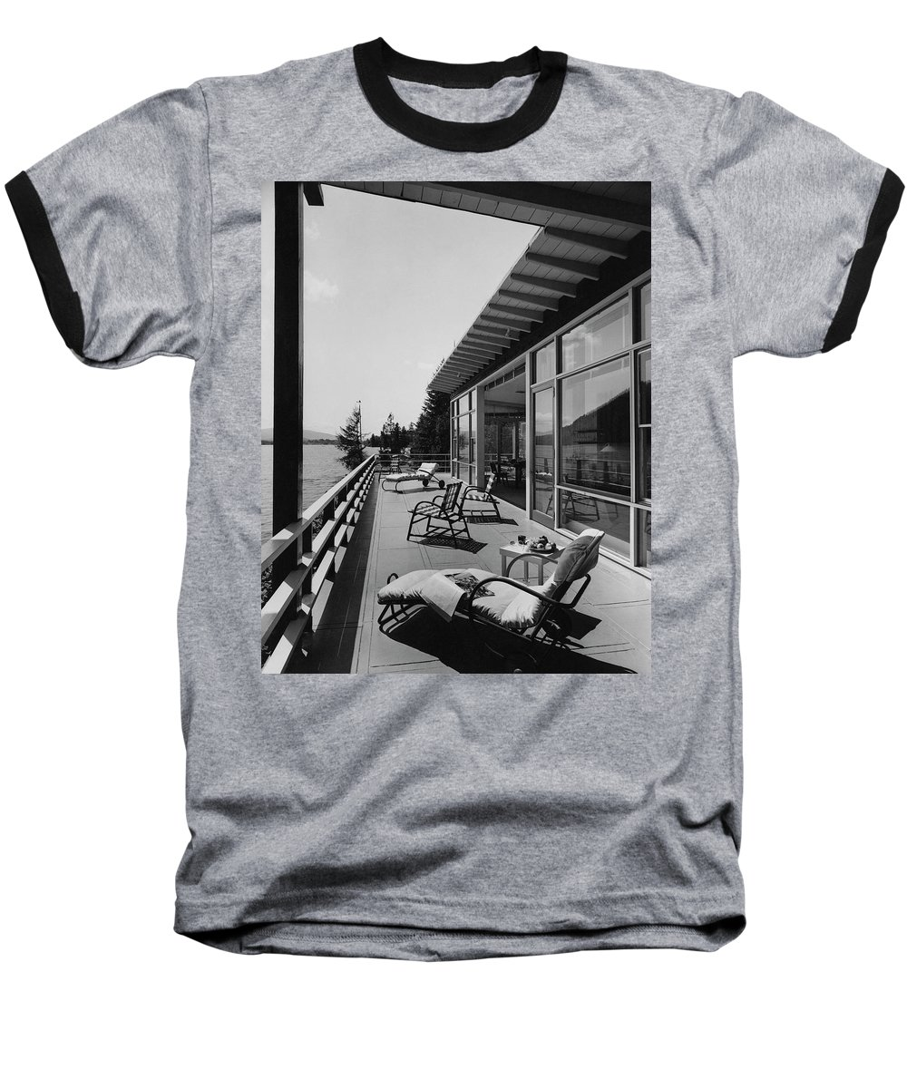 Architecture Baseball T-Shirt featuring the photograph The Alfred Rose Lake Placid Summer Home by Robert M. Damora
