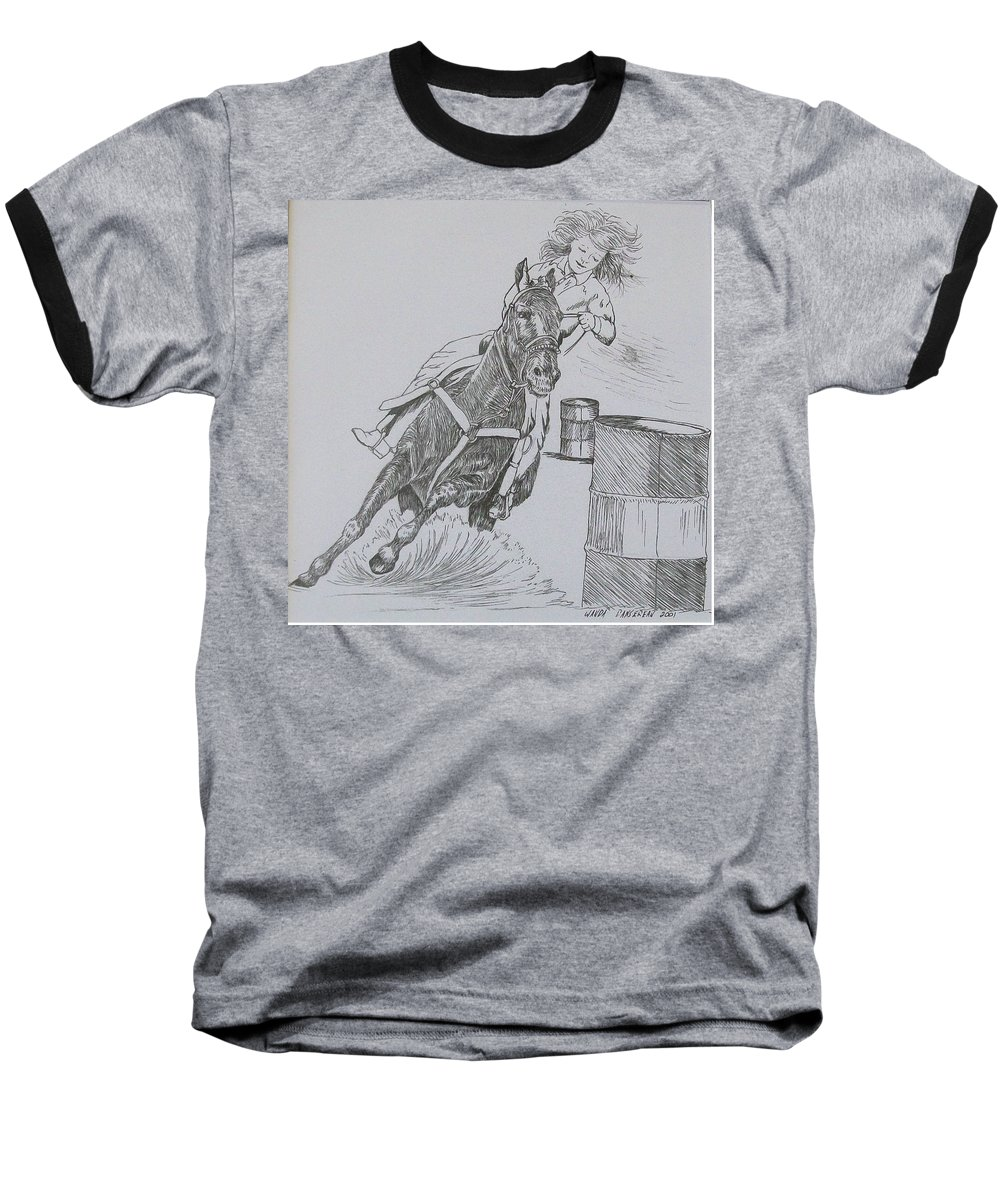 Black And Grey Black Poster Baseball T-Shirt featuring the drawing The Barrel Racer by Wanda Dansereau