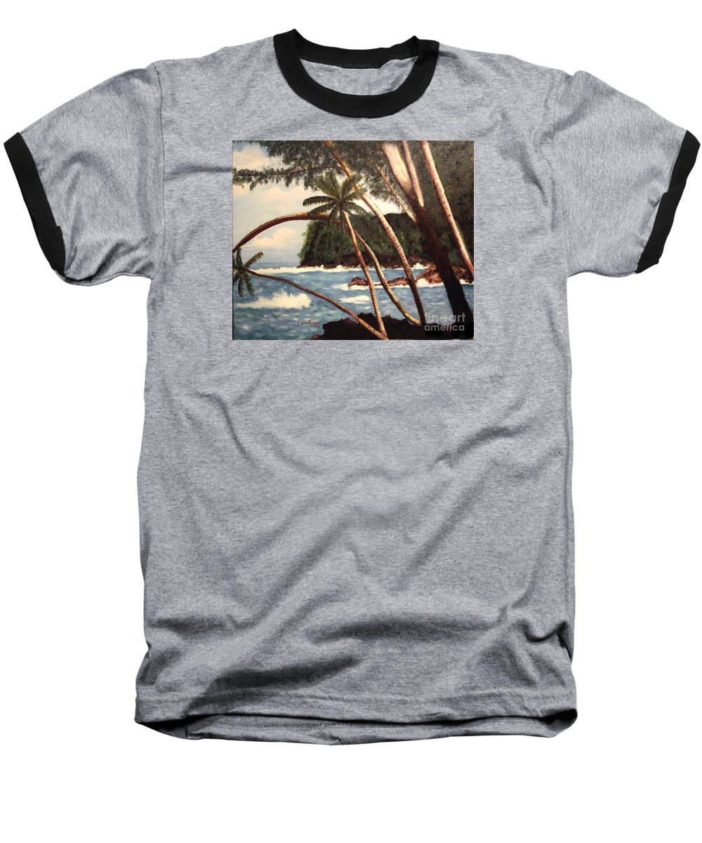 Hawaii Baseball T-Shirt featuring the painting The Big Island by Laurie Morgan