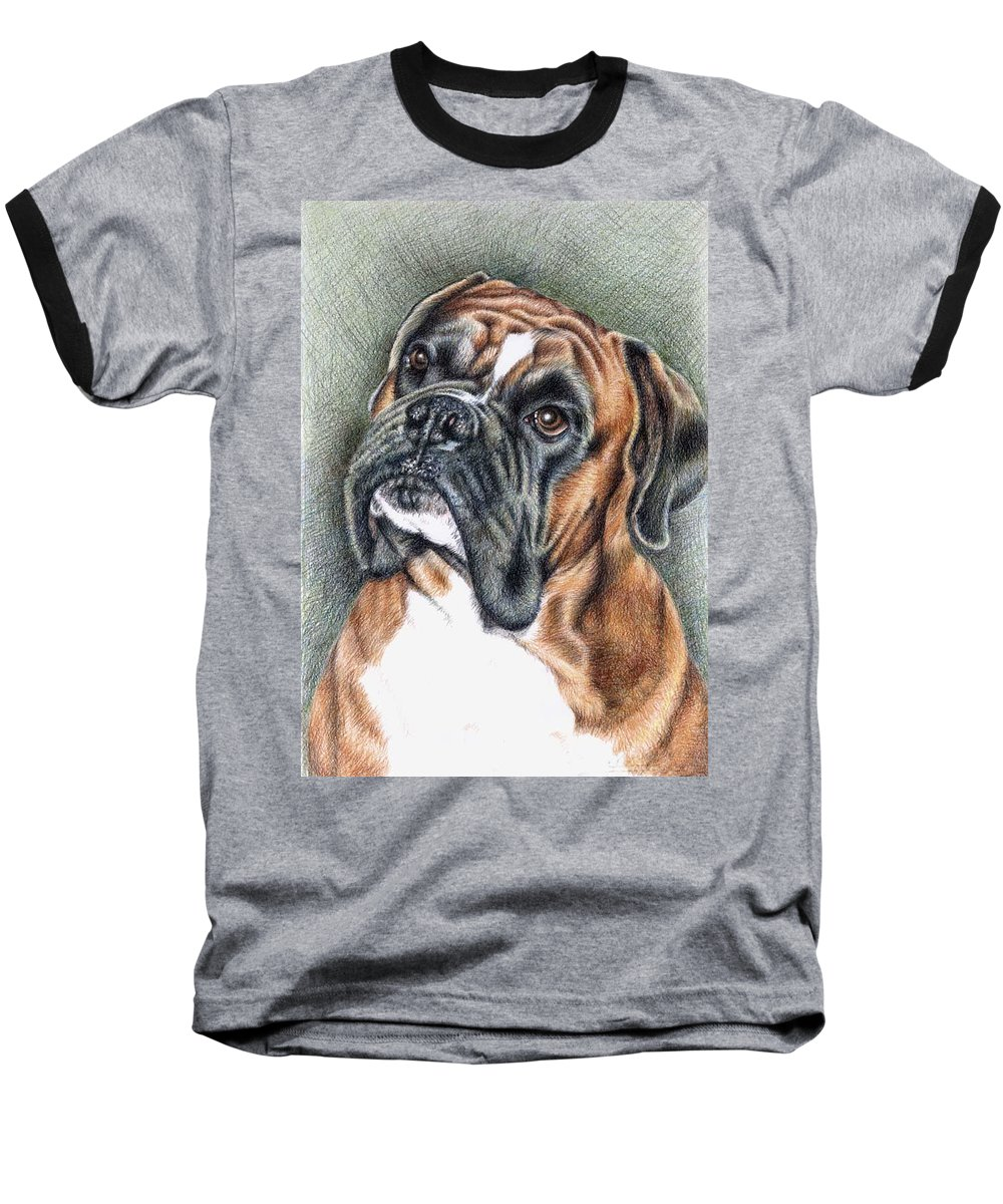 Dog Baseball T-Shirt featuring the drawing The Boxer by Nicole Zeug