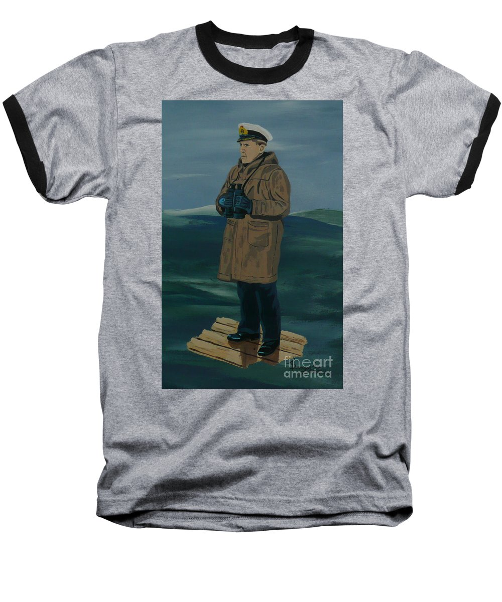 Captain Baseball T-Shirt featuring the painting The Captain by Anthony Dunphy