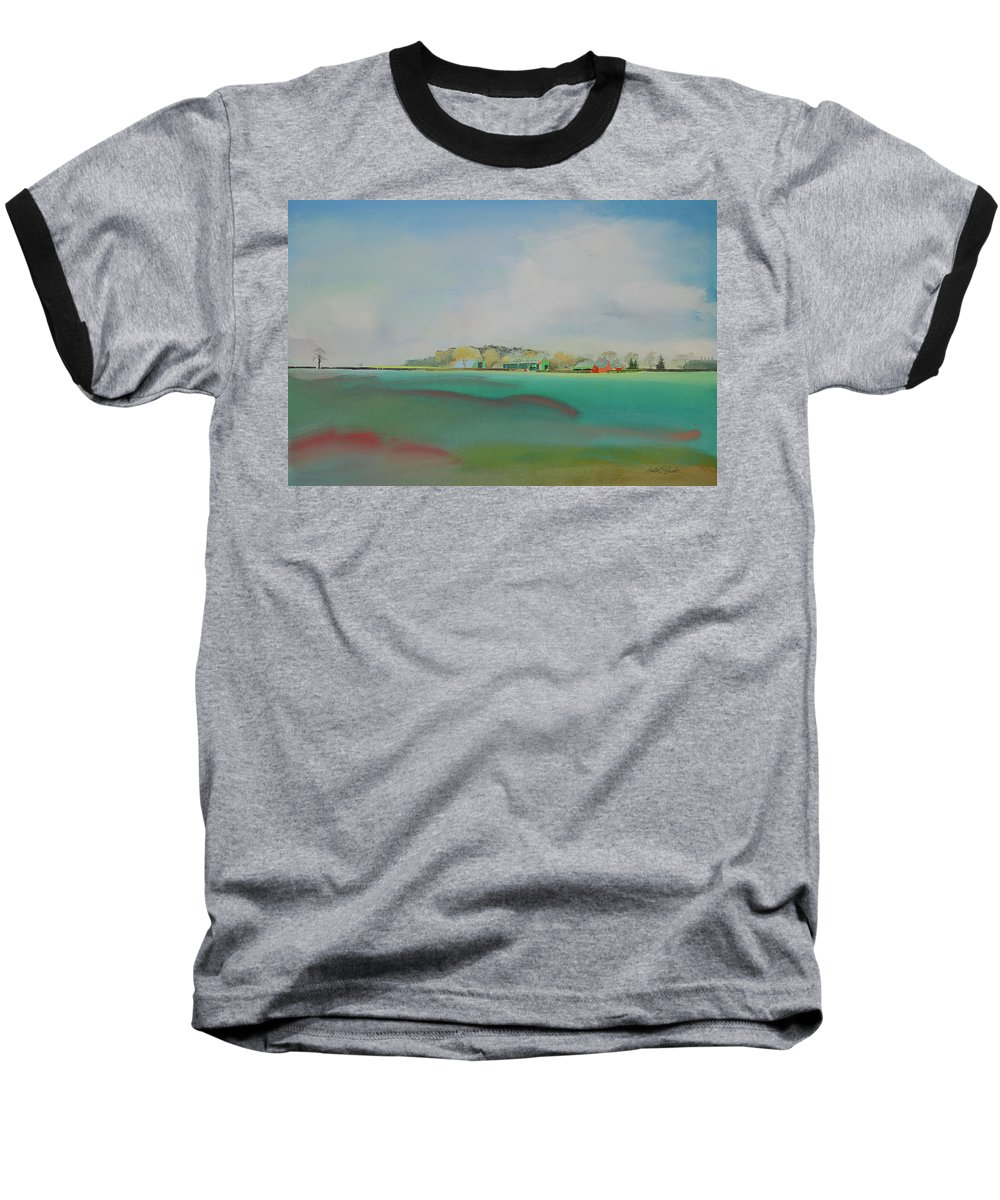 Landscape Baseball T-Shirt featuring the painting The English Farm  A Break In The Cloud by Charles Stuart