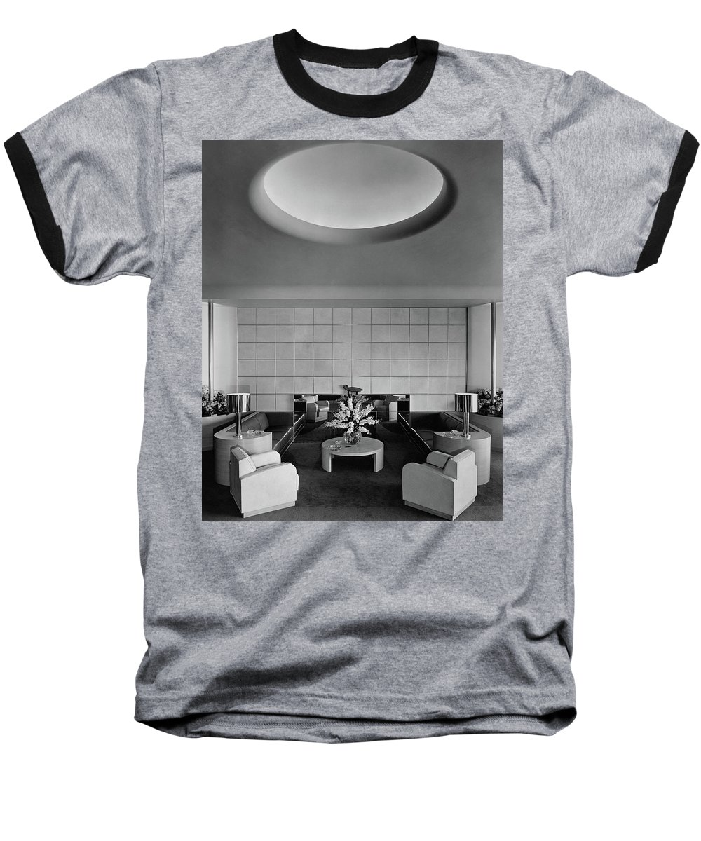 Interior Baseball T-Shirt featuring the photograph The Executive Lounge At The Ford Exposition by Robert M. Damora