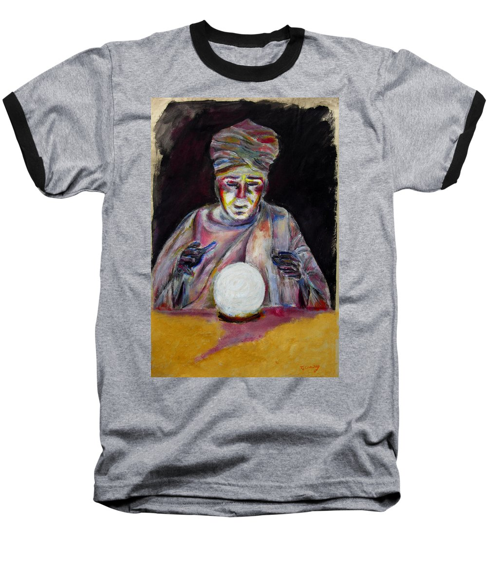 Fortune Tellers Baseball T-Shirt featuring the painting The Fortune Teller by Tom Conway