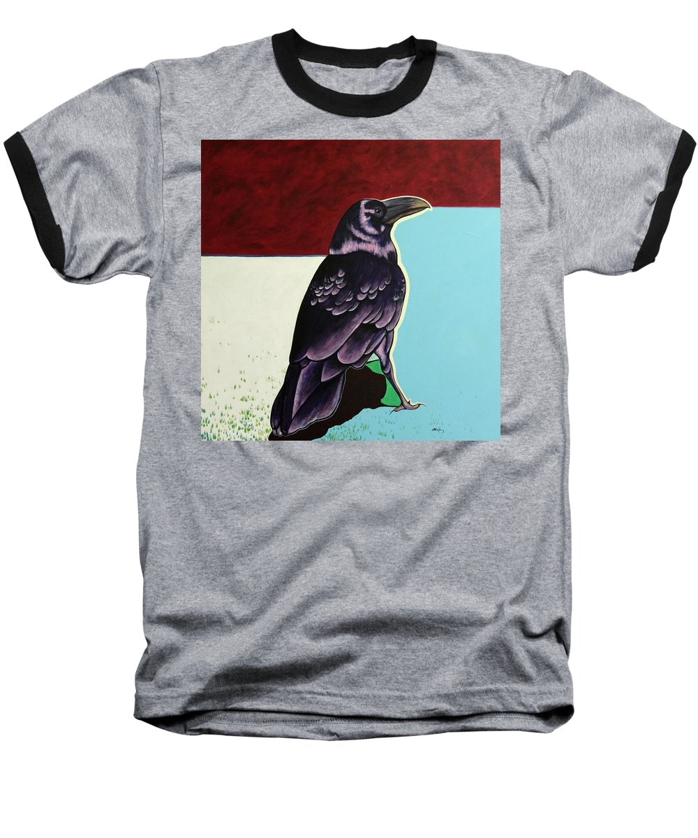 Wildlife Baseball T-Shirt featuring the painting The Gossip - Raven by Joe Triano