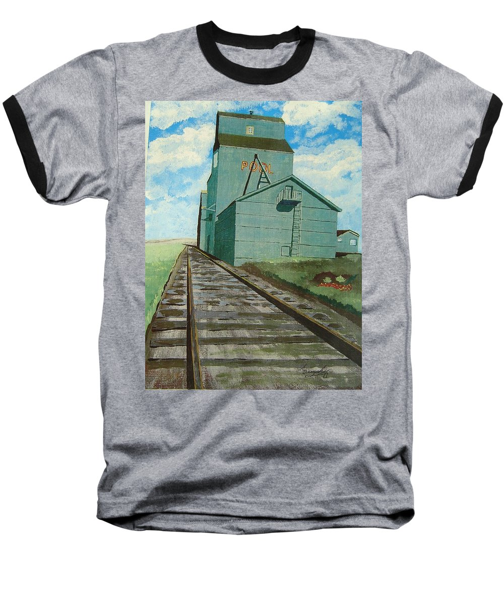 Elevator Baseball T-Shirt featuring the painting The Grain Elevator by Anthony Dunphy