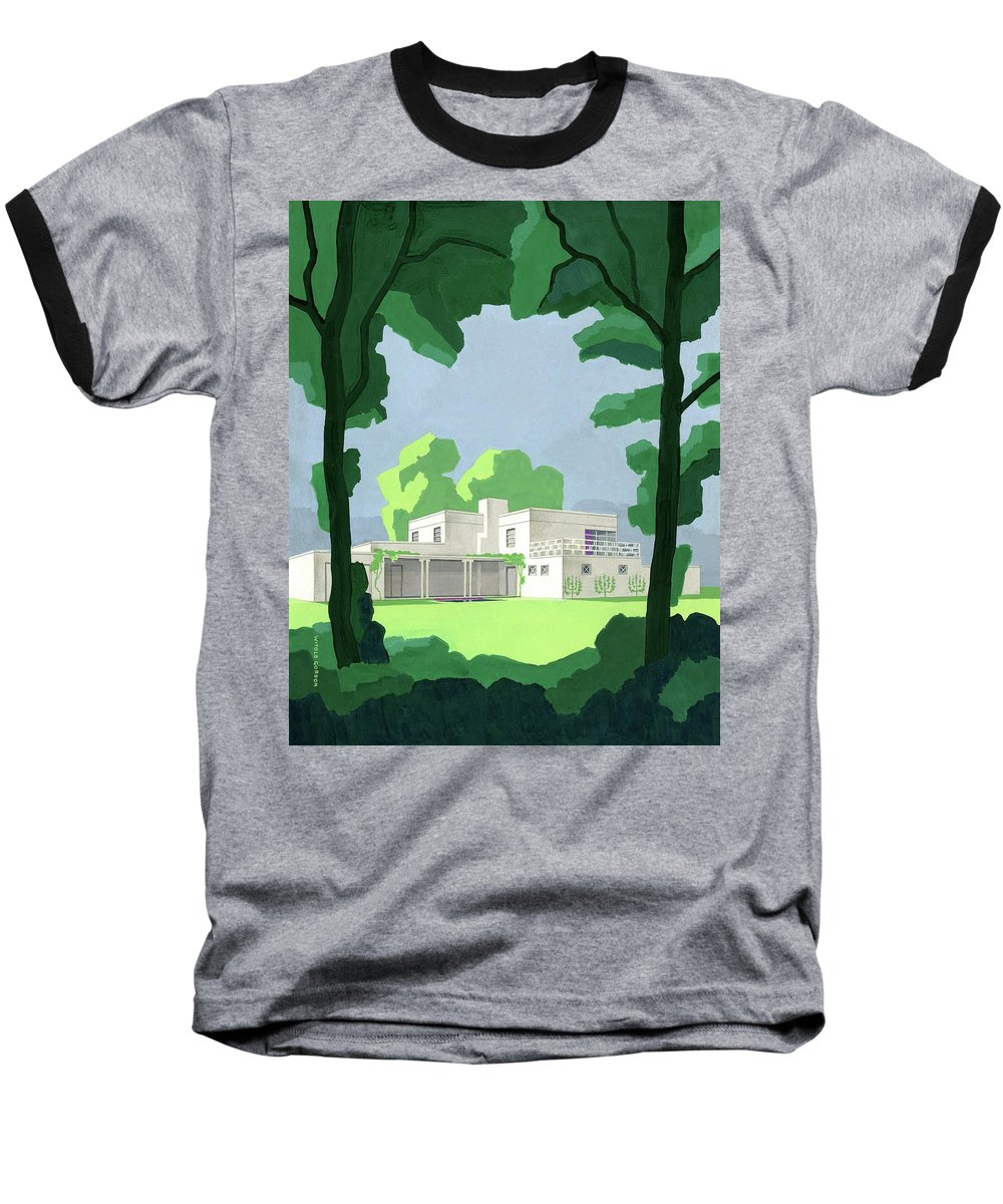 Architecture Baseball T-Shirt featuring the digital art The Ideal House In House And Gardens by Witold Gordon