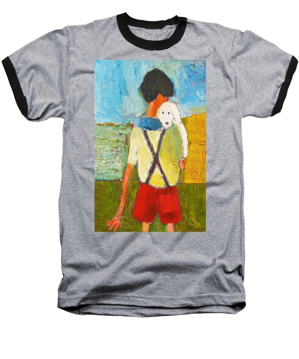 Abstract Baseball T-Shirt featuring the painting The Little Puppy by Habib Ayat