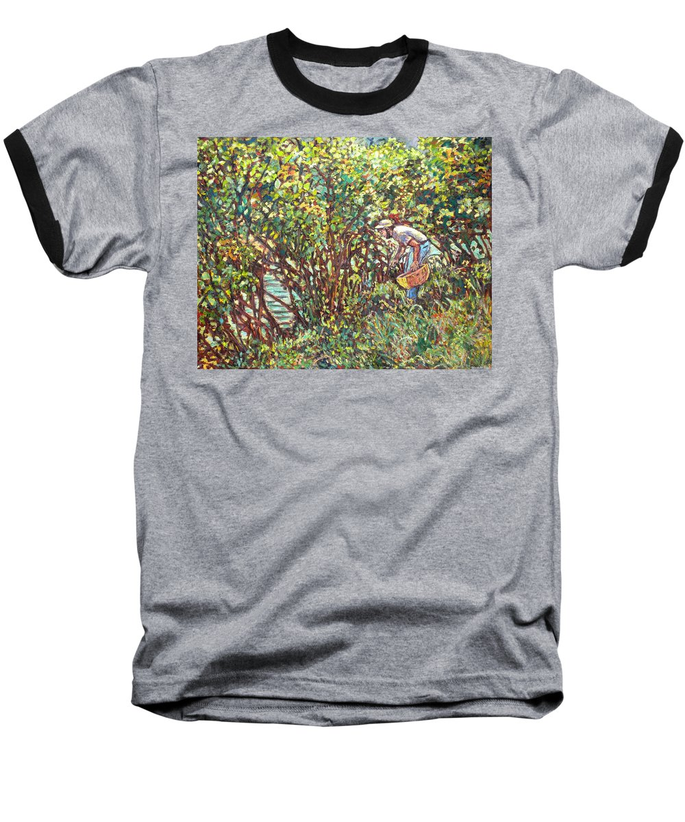 Landscape Baseball T-Shirt featuring the painting The Mushroom Picker by Kendall Kessler