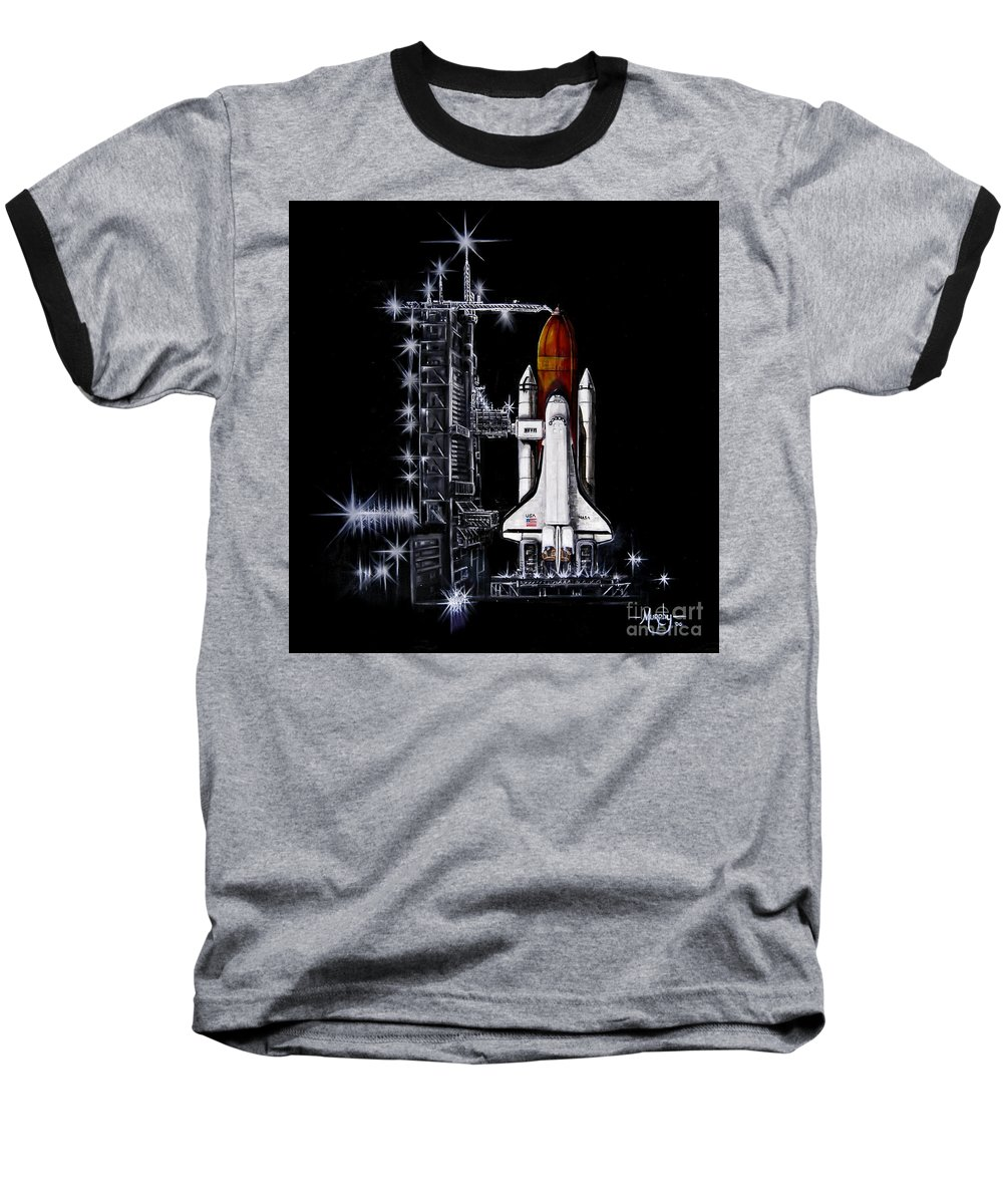Shuttle Baseball T-Shirt featuring the painting The Night Before by Murphy Elliott