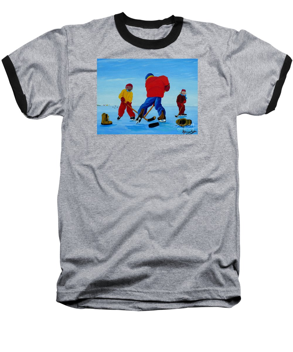 Winter Baseball T-Shirt featuring the painting The Pond Hockey Game by Anthony Dunphy