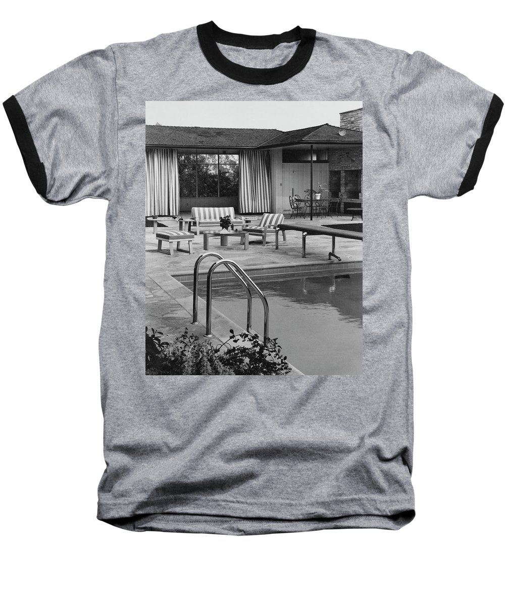 Architecture Baseball T-Shirt featuring the photograph The Pool And Pavilion Of A House by Sharland