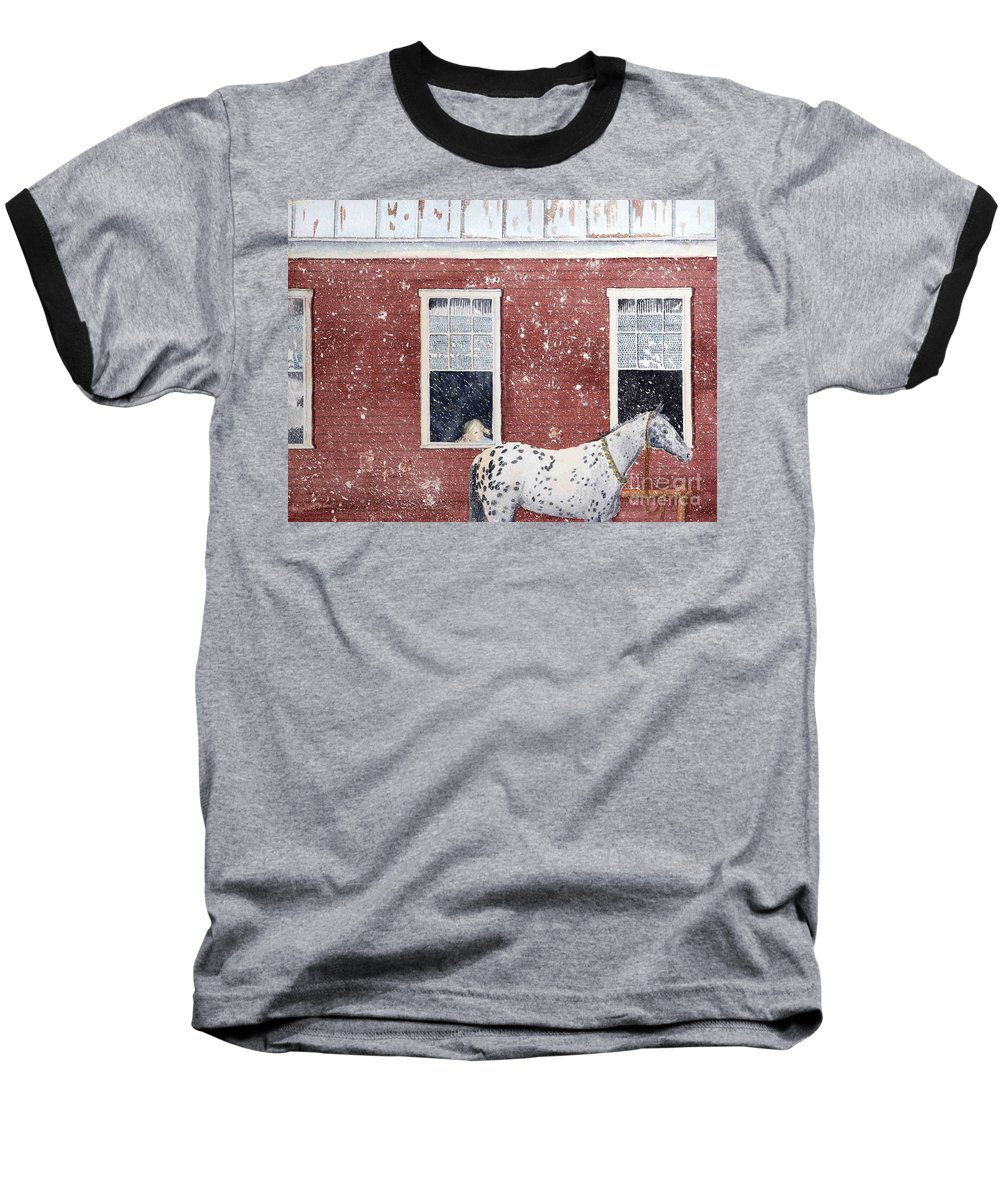 Horses Baseball T-Shirt featuring the painting The Ride Home by LeAnne Sowa