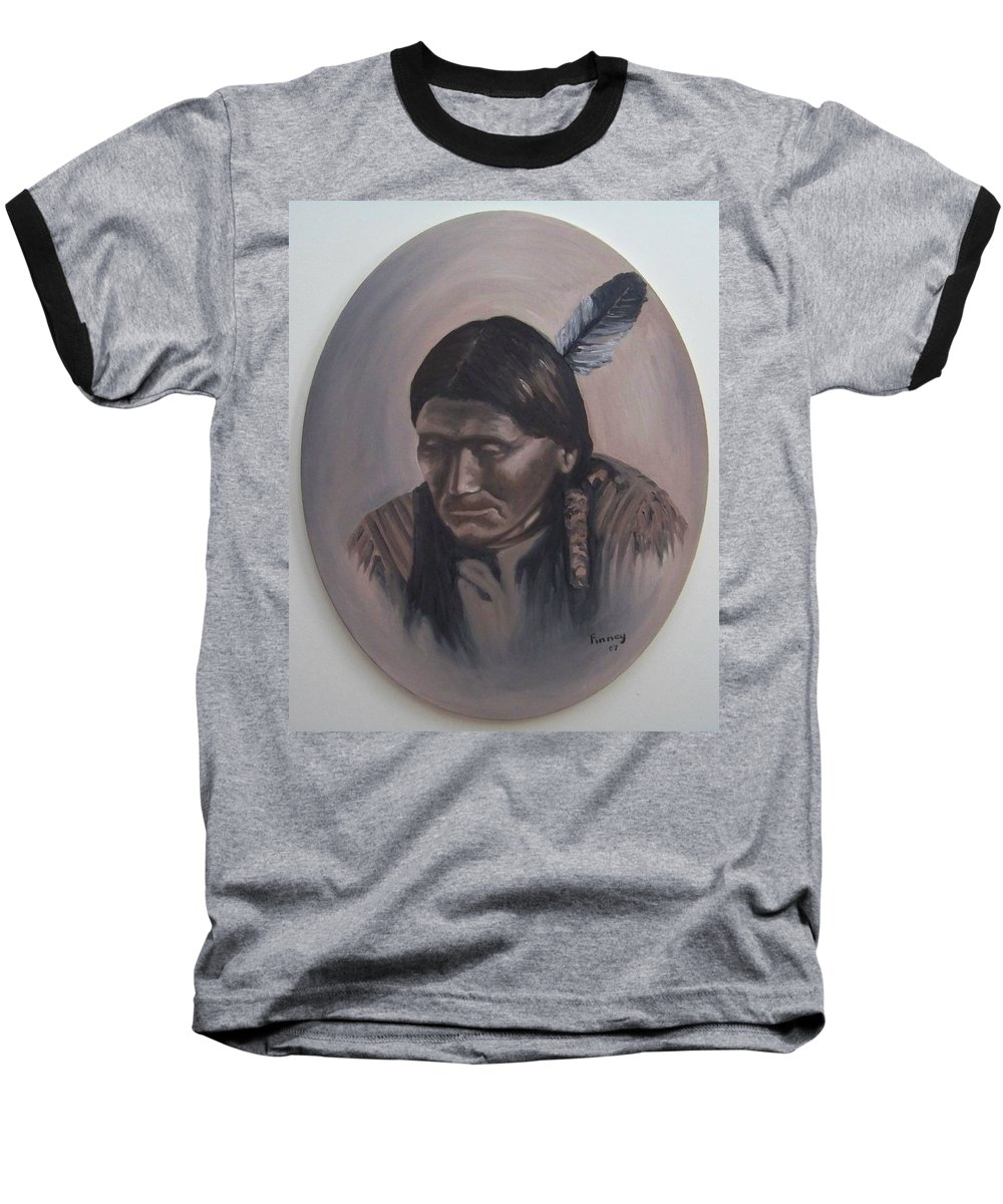 Michael Baseball T-Shirt featuring the painting The Story Teller by Michael TMAD Finney