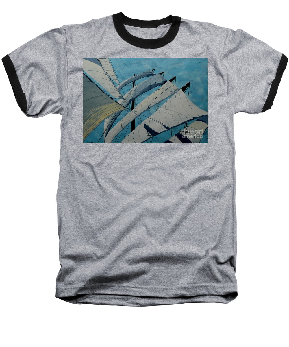 Sails Baseball T-Shirt featuring the painting The Tower Of Power by Anthony Dunphy