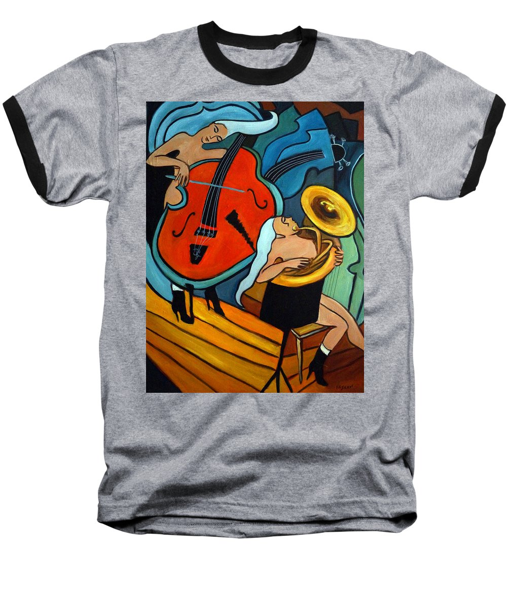 Musician Abstract Baseball T-Shirt featuring the painting The Tuba Player by Valerie Vescovi