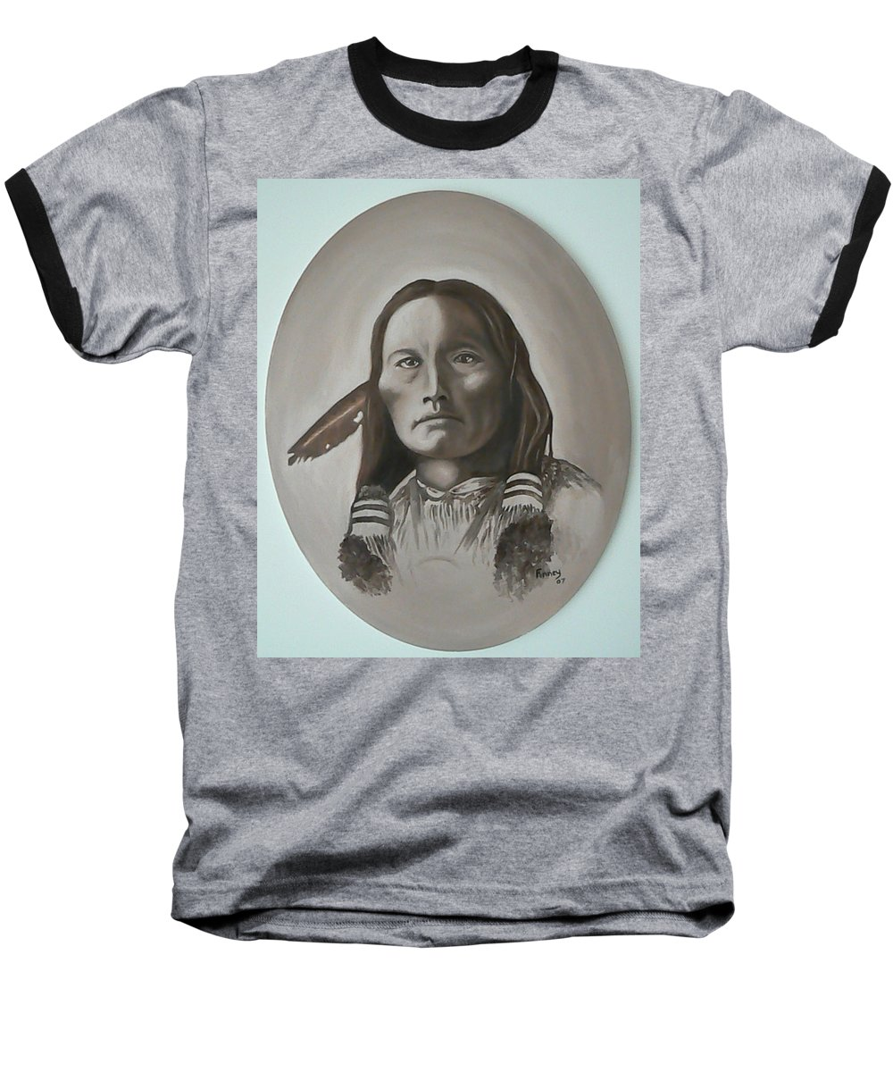 Michael Baseball T-Shirt featuring the painting Three Fingers by Michael TMAD Finney