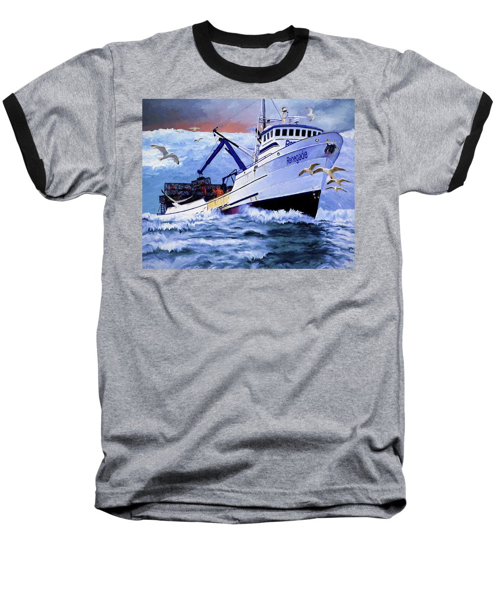 Alaskan King Crabber Baseball T-Shirt featuring the painting Time To Go Home by David Wagner