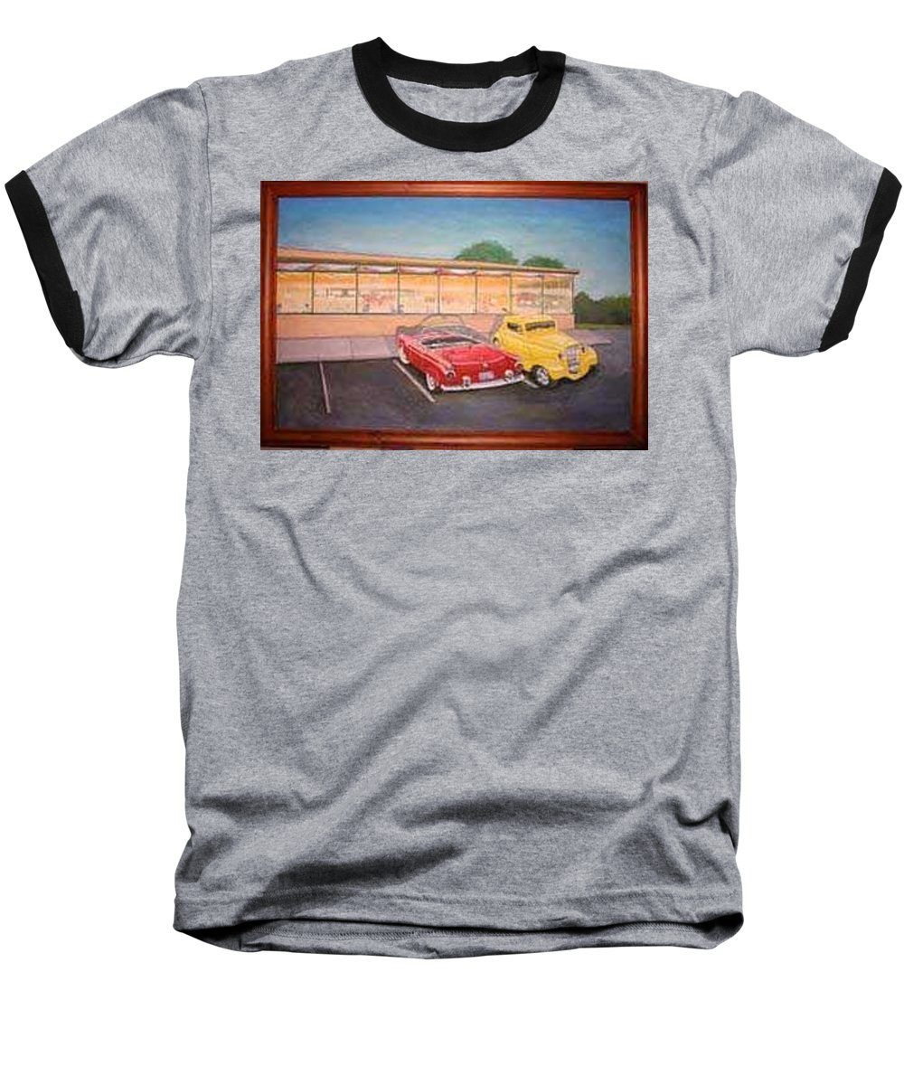 Rick Huotari Baseball T-Shirt featuring the painting Times Past Diner by Rick Huotari