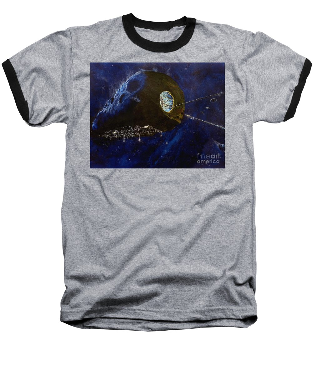 Oil Baseball T-Shirt featuring the painting Tomorrow by Murphy Elliott