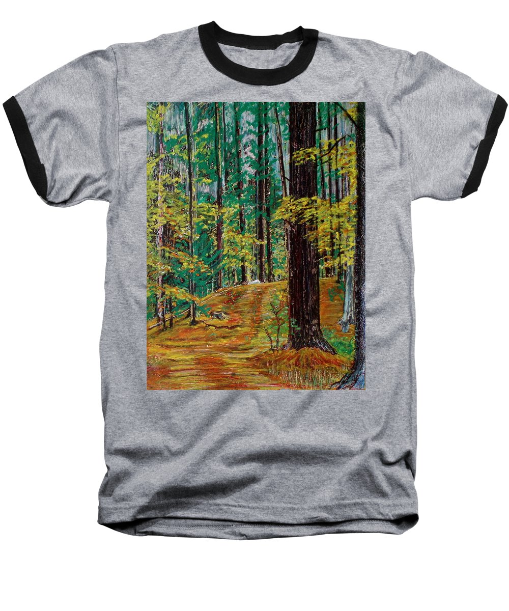 New Hampshire Baseball T-Shirt featuring the pastel Trail At Wason Pond by Sean Connolly