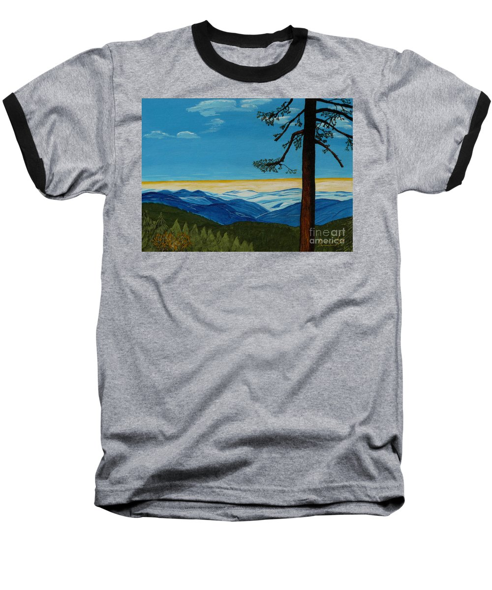 Mountain Baseball T-Shirt featuring the painting Tranquil Solitude by Anthony Dunphy
