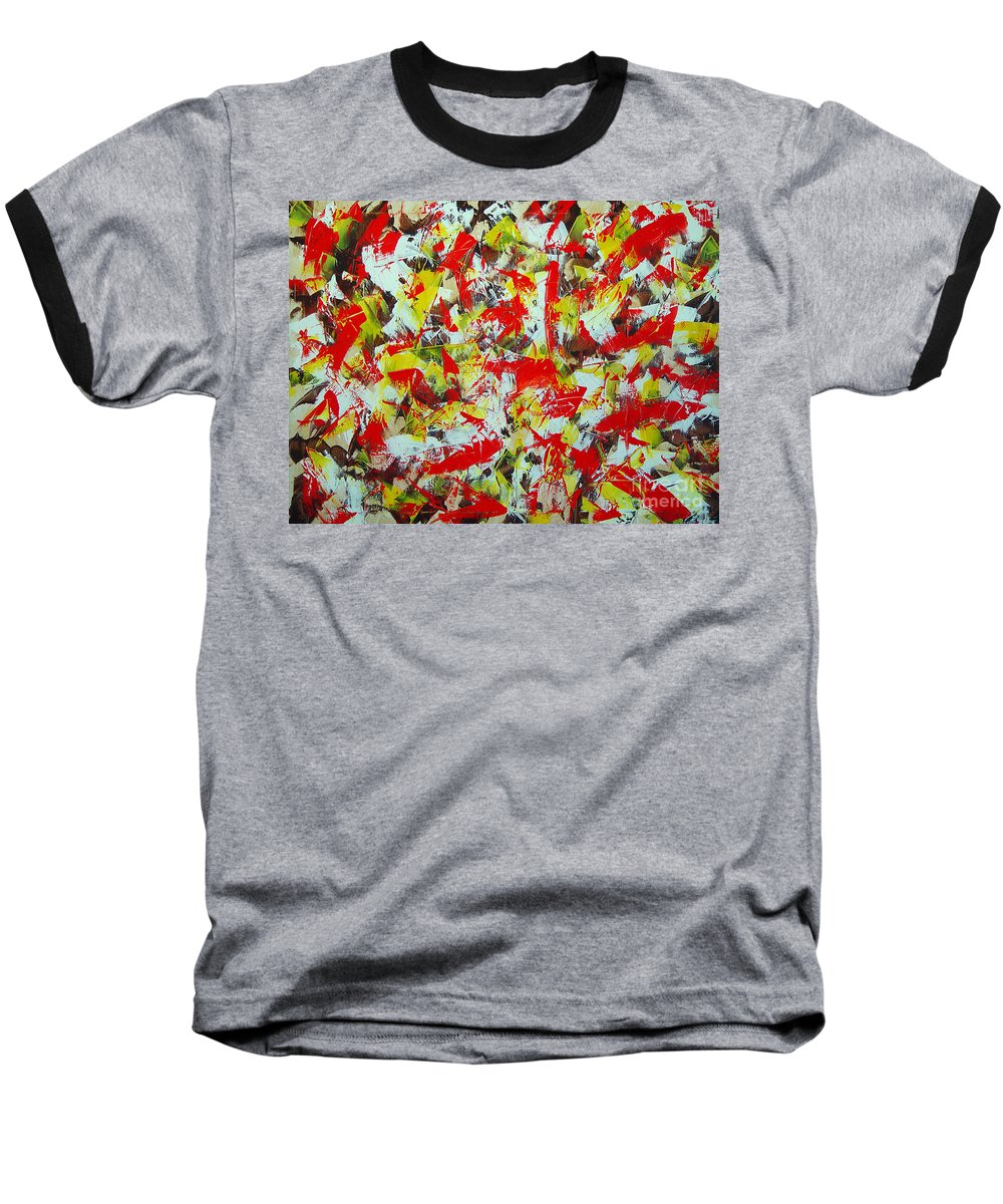 Abstract Baseball T-Shirt featuring the painting Transitions With Yellow Brown And Red by Dean Triolo