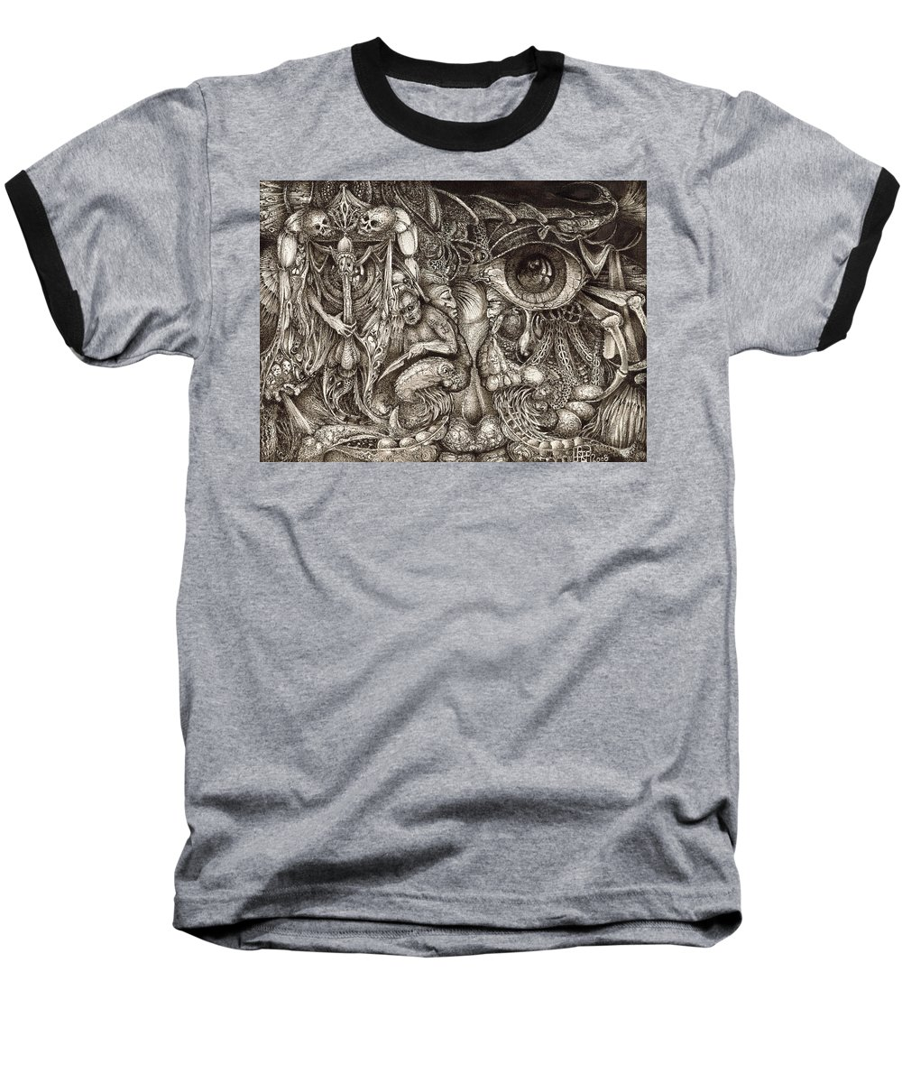 Surreal Baseball T-Shirt featuring the drawing Tripping Through Bogomils Mind by Otto Rapp