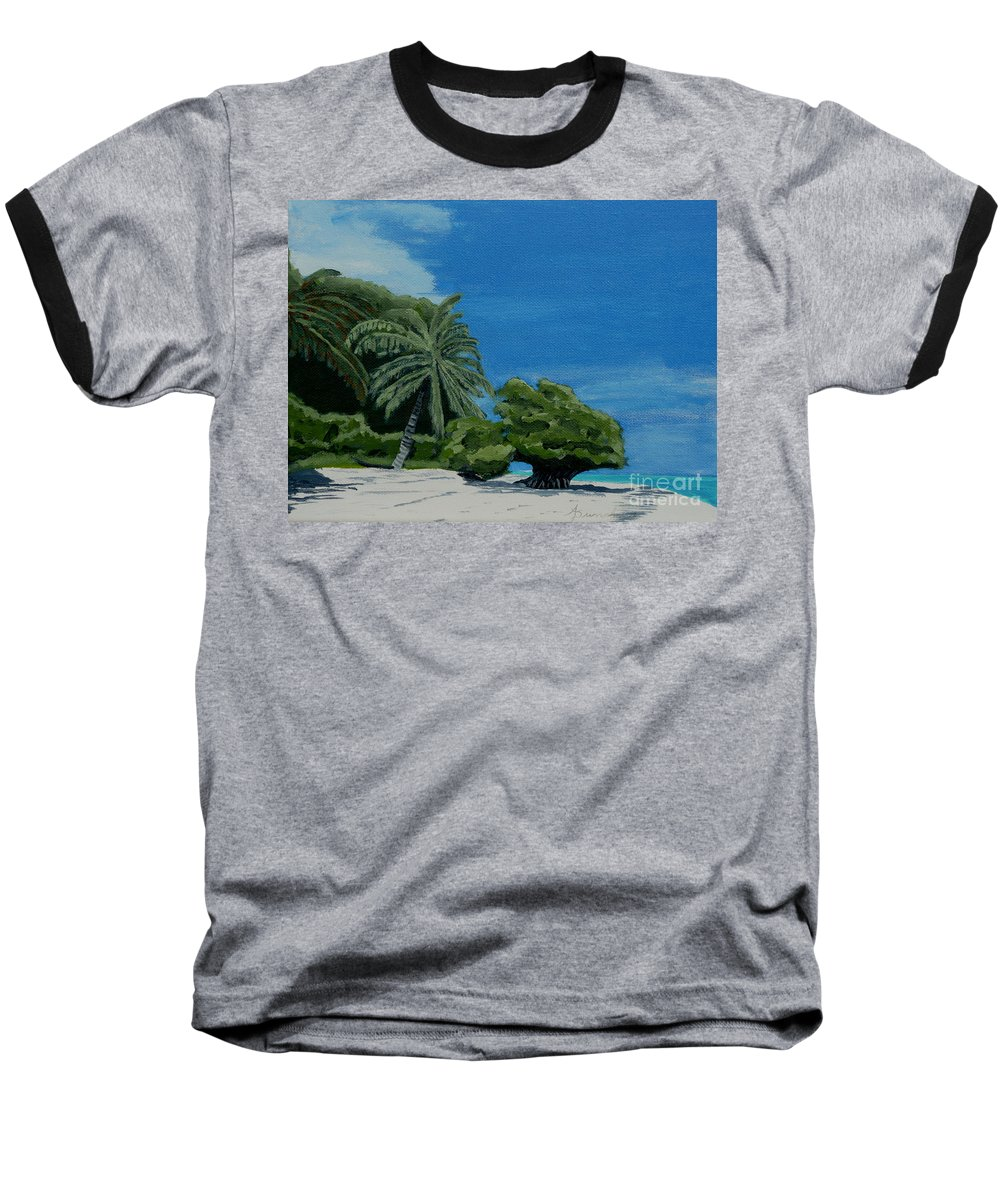 Beach Baseball T-Shirt featuring the painting Tropical Beach by Anthony Dunphy