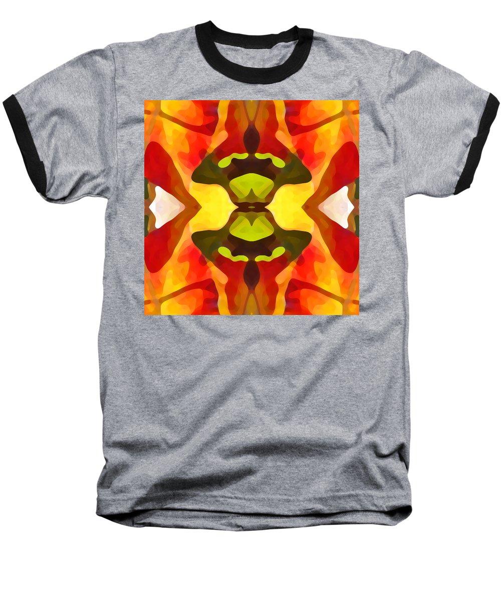 Abstract Baseball T-Shirt featuring the painting Tropical Leaf Pattern 1 by Amy Vangsgard