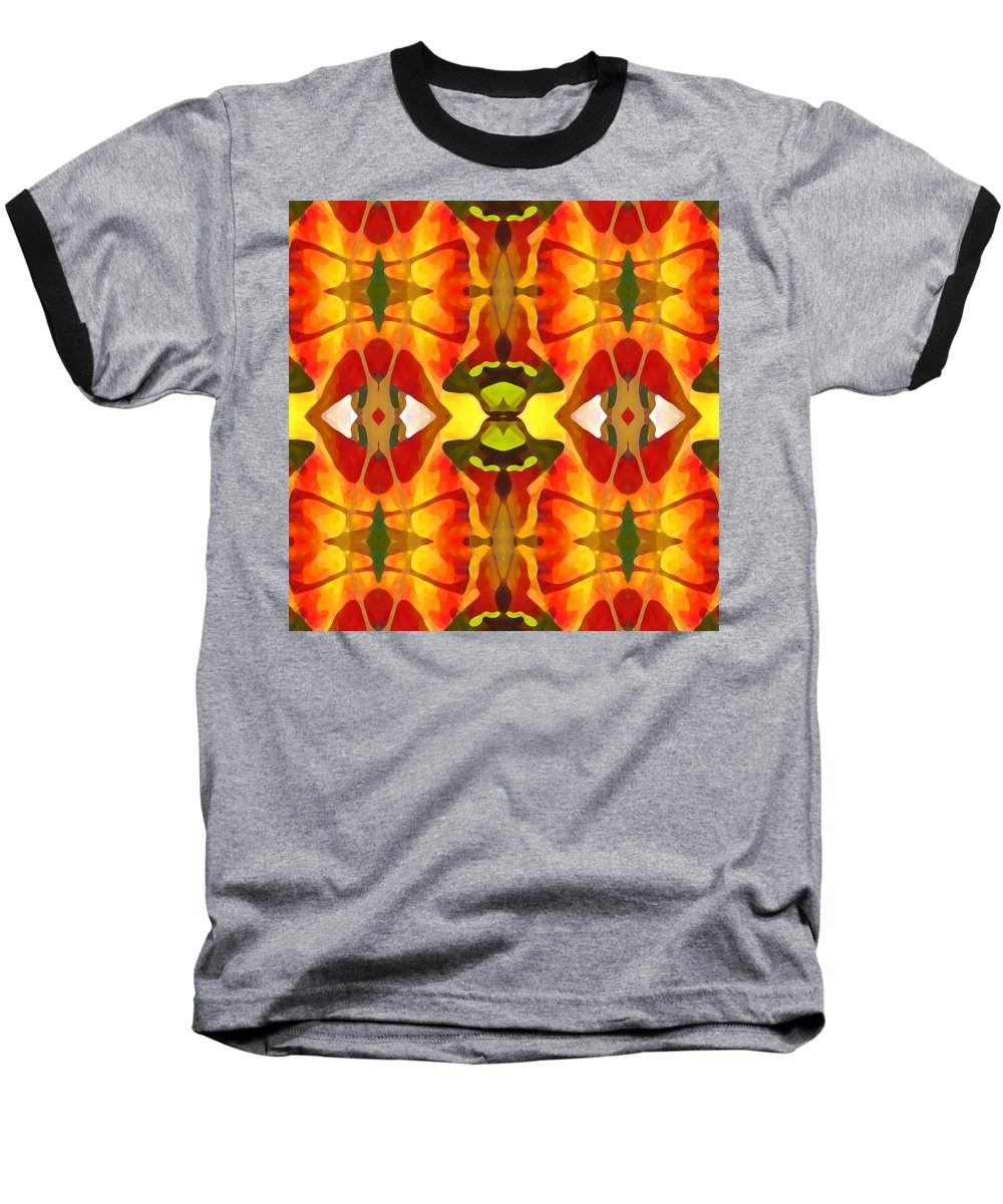 Abstract Baseball T-Shirt featuring the painting Tropical Leaf Pattern 4 by Amy Vangsgard
