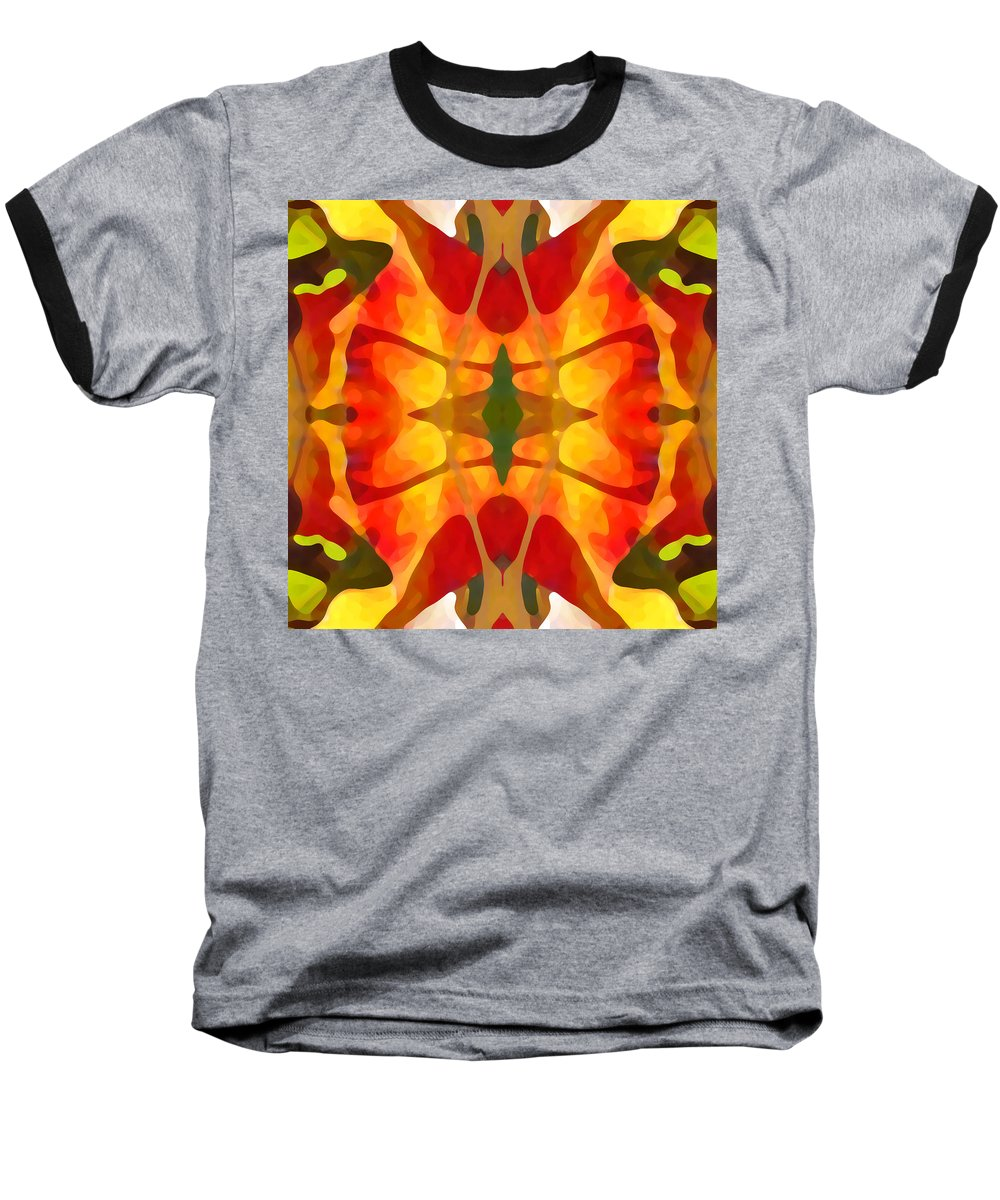 Abstract Baseball T-Shirt featuring the painting Tropical Leaf Pattern5 by Amy Vangsgard