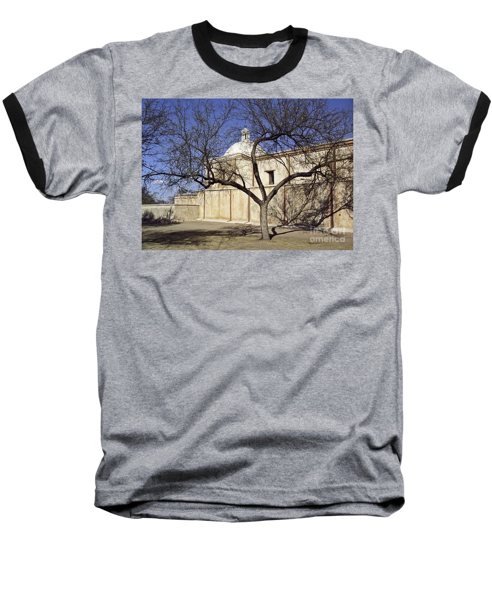 Mission Baseball T-Shirt featuring the photograph Tumacacori With Tree by Kathy McClure